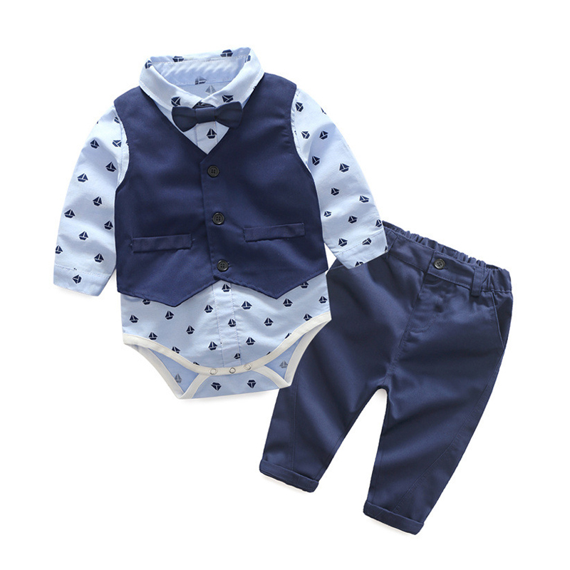 2018 Newborn Baby Boy Clothing Set Infant Romper Jumpsuit Kids Long Sleeve Shirt Vest Pants 3pcs Children Boys Party Rompers Set ...
