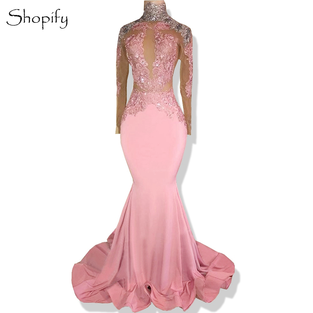 Long Elegant   Prom     Dresses   2019 High Neck Mermaid Long Sleeve Beaded Applique African Backless Pink   Prom     Dress   Party