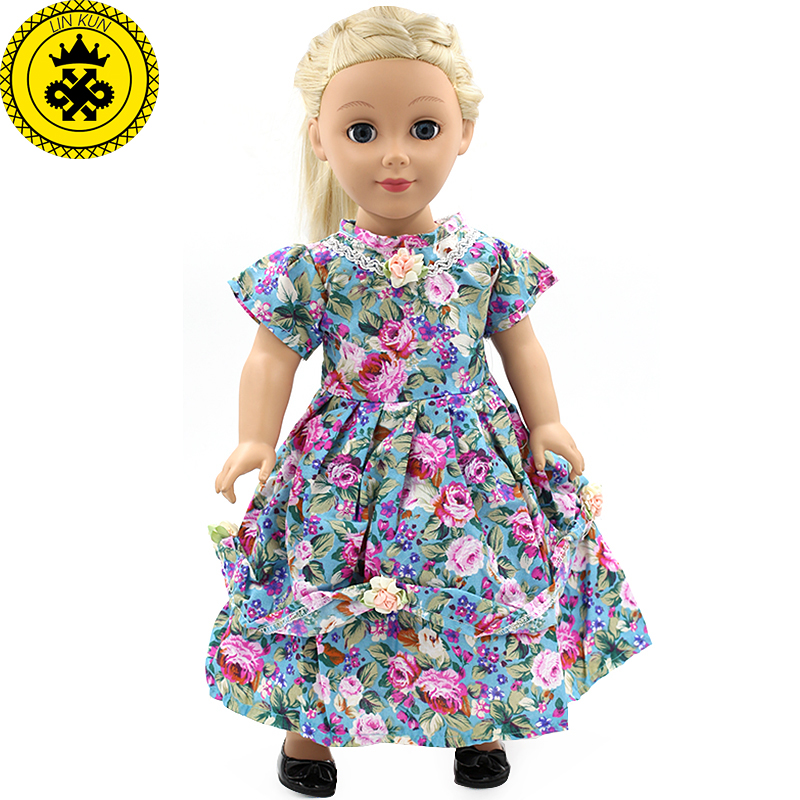 American Girl Doll Clothes Multicolor Print Long Dress Doll Clothes For 18 American Girl Doll Flower Dresses Best Gift MG-051 [mmmaww] christmas costume clothes for 18 45cm american girl doll santa sets with hat for alexander doll baby girl gift toy