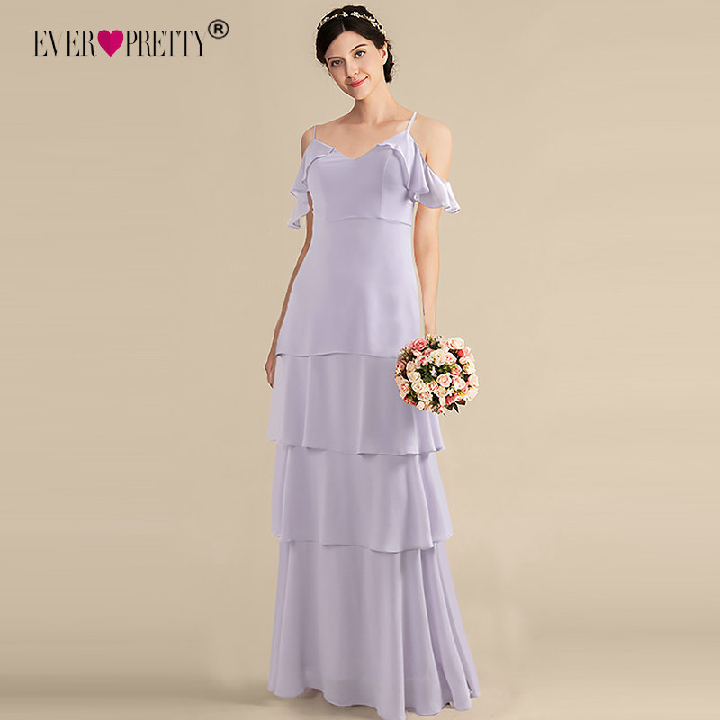 Ever Pretty Long   Bridesmaid     Dresses   2019 Burgundy A-line Sleeveless V-neck Chiffon Purple Wedding Party   Dress   Elegant Prom Gowns