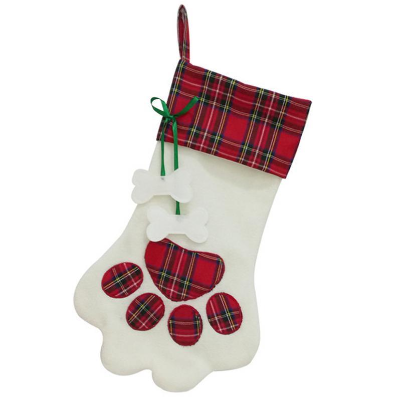 Christmas Stockings Gift Bag Soft Plush Cute Red Paw Print Bone Tag Pet Present