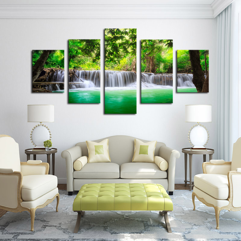 5 panel waterfall painting home living room decoration canvas print painting large canvas art framed combined