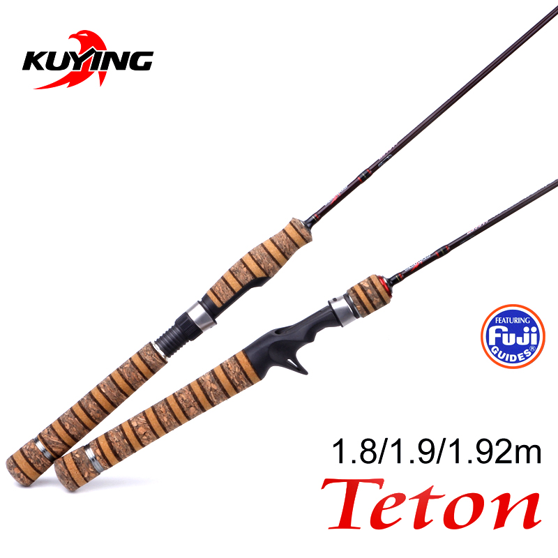 KUYING Teton UL Ultra-lys Soft Fishing Rod 1,8m 1,9m 1,92m Lure Carbon Casting Spinning Cane Pole FUJI Medium Action Ørred