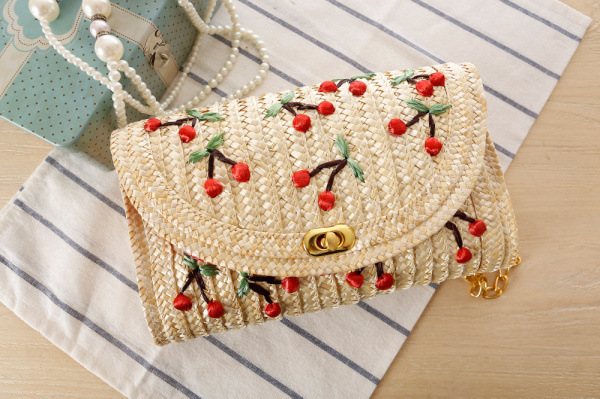 2017  Bohemian Style Mini Women's Messenger Bags Weave Embroidery Cherry Chain Women Messenger Bags