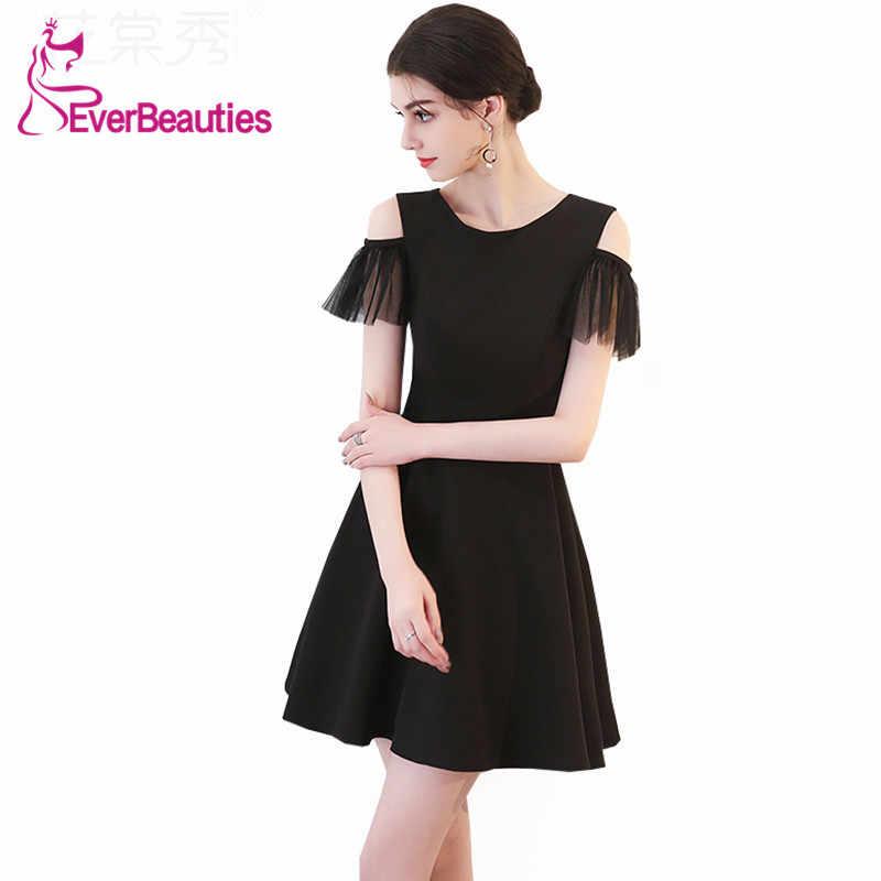 bab6c12625d Короткие черные коктейльные платья 2019 по колено для Для женщин Homecoming  платья Пром Платья для вечеринок