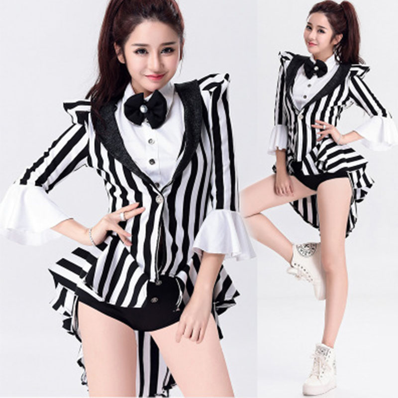Black White Singer Women Stripe Dress Jazz Dance DS Costume Stage Performance Dance Wear Bar Club DJ Pole Jazz Dancing Wear