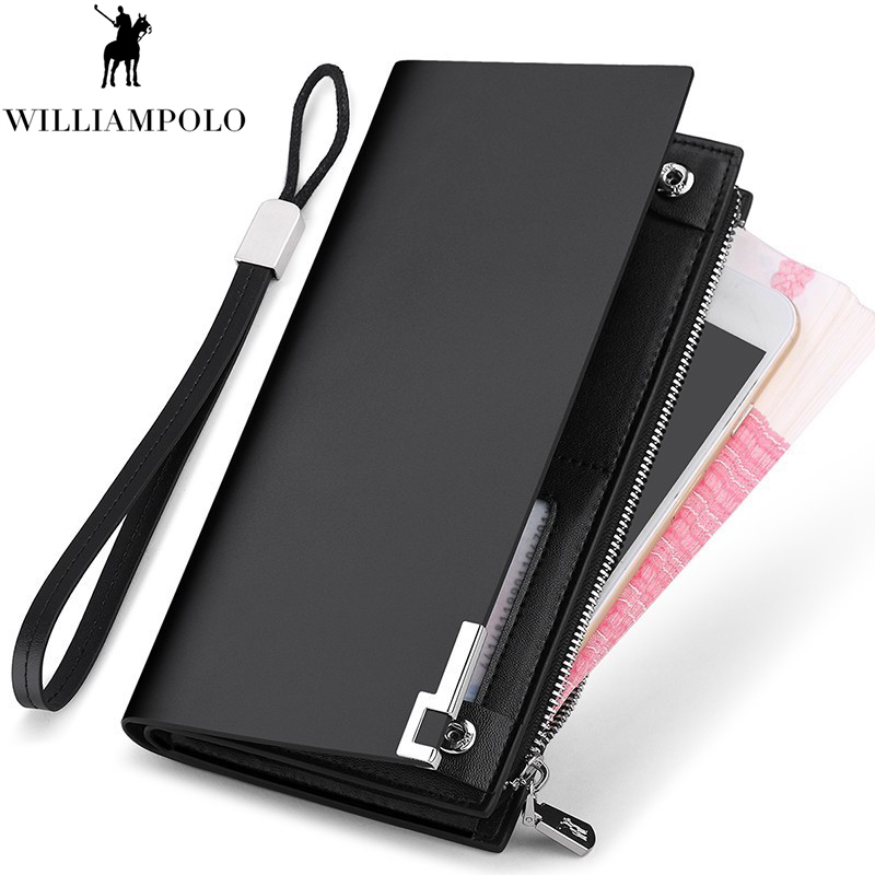 WILLIAMPOLO Genuine Leather Men Wallet Fashion Design Long Sequined Phone Credit Card Holder Wallet PL209