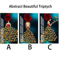 Youran New Arrival Diy Diamond Embroidery Rose Butterflies Beautiful Woman Abstract Diamond Painting Full Drill For Wall Decor