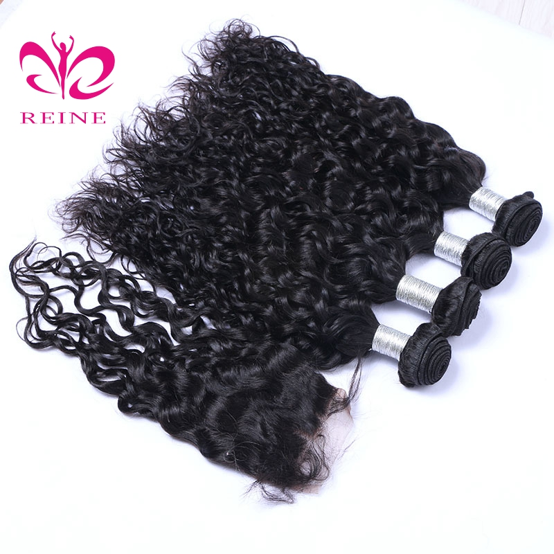 Water wave bundles with closure brazilian human hair 8~26 inch available natural color none remy hair free shipping