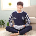 Plus size lounge set men sleepwear Korean style 2017 spring and autumn long-sleeve cotton male pajamas set 3xl 4xl 5xl