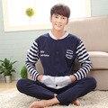 Plus tamaño ropa de dormir conjunto de salón de los hombres Del estilo Coreano 2017 primavera y otoño masculino de algodón de manga larga pijamas set 3xl 4xl 5xl