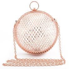 LETODE hollow metal ball women shoulder bag cage round clutch evening bag luxury wedding party travel crossbody purse handbag(China)