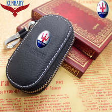 Ankunft männer Echte Echtem Leder Tasche Autoschlüssel Fall Abdeckung Brieftaschen Mode Frauen Keeper Halter Carteira Für Maserati 2