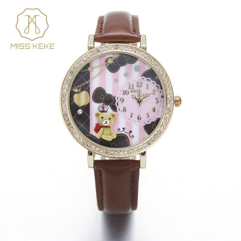 Miss Keke 3d Argile Mignon Mini Monde Ours Strass Montres Horloges Relogio Feminino Dames Femmes Quartz En Cuir Montres 924