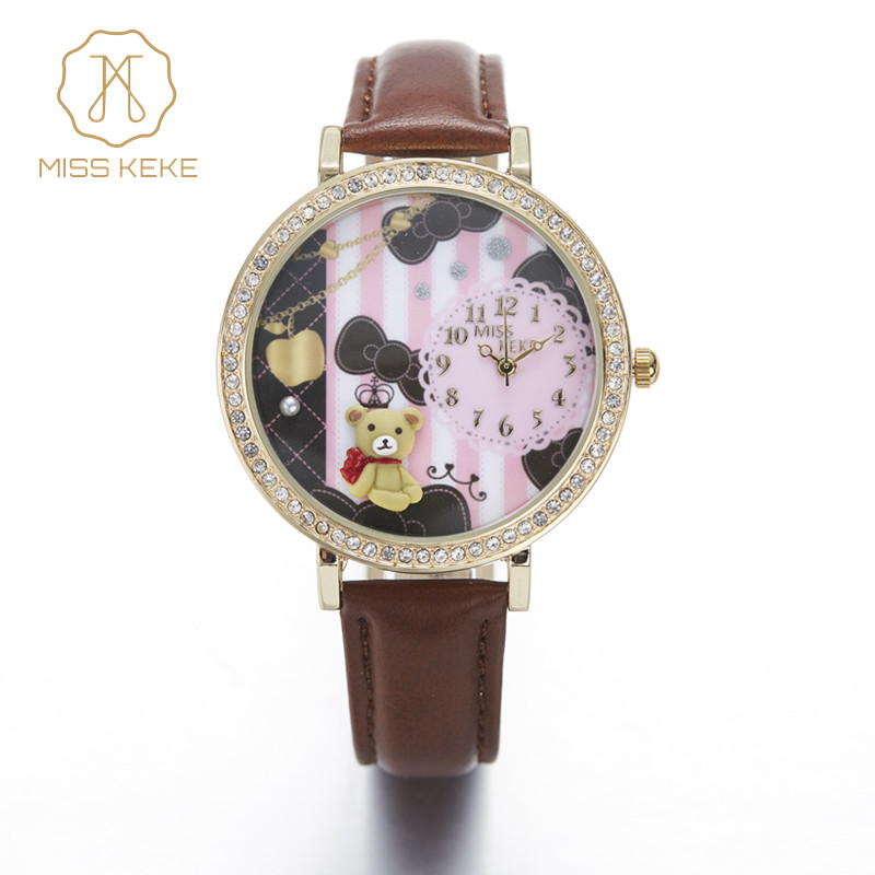 Miss Keke 3d Clay Leuke Mini Wereld Beer Strass Horloges Klokken Relogio Feminino Dames Dames Quartz Leren Horloges 924