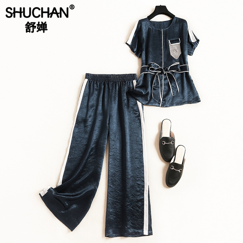 Shuchan  Two Piece Pants Set Women Female Costume Appliques Top+Wide Leg Pants With Stripes On The Sides Tracksuit Women 51229