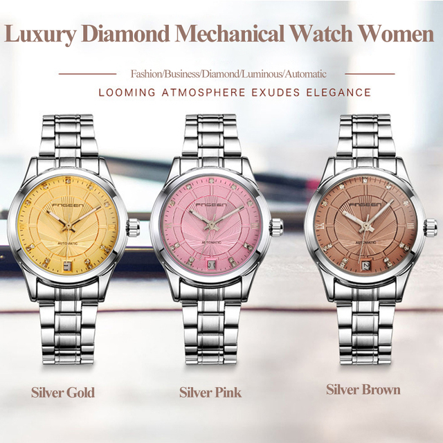 Automatic Women's Wrist Watch Reloj Mujer Luxury Diamond Ladies Bracelet Watch Steel Date Female Clock Skeleton Mechanical Saats