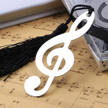 Sliver Hollow Musical Notes Bookmarks Label Stationery Gifts Book Mark 1Pcs with Tassels Pendant Novelty Ducument Book Marker(China)