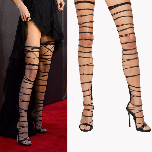 80b7c6e2c93de Sexy Lace Up Over Knee Thigh High Gladiator Sandals High Heels Pumps Riri  Sandals Cross Strap Stiletto Summer Boots Shoes Woman