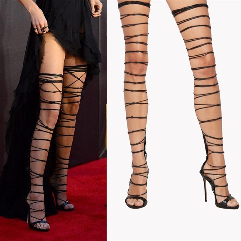 Online Get Cheap Over The Knee Strap up Heels -Aliexpress.com ...