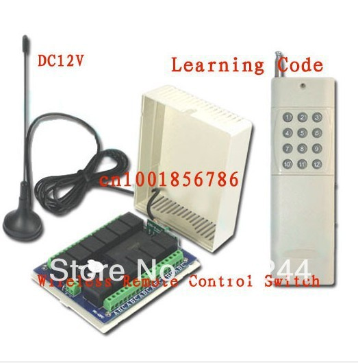Free shipping 3000M 12V 12CH (channel) Relay Receiver & Transmitter for rf Wireless Remote Control Switch System With Antenna