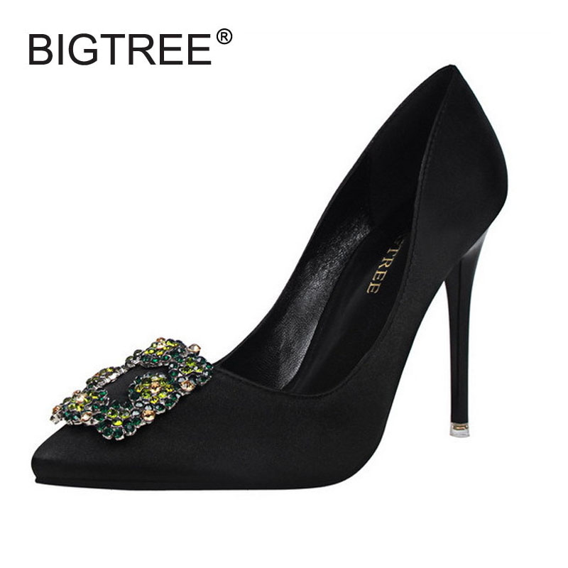Sexy Pointed Toe Thin Heels Women Pumps Fashion Satin Crystal High Heels Ladies Evening Party ShoesWomen Wedding Shoes sexy pointed toe thin high heels women party shoes new fashion patchwork slip on shallow mouth women pumps ladies evening shoes