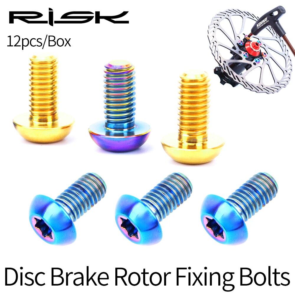 12pcs M5x10mm MTB Road Bike Disc Brake Rotor Titanium Screw Bolts T25 Torx