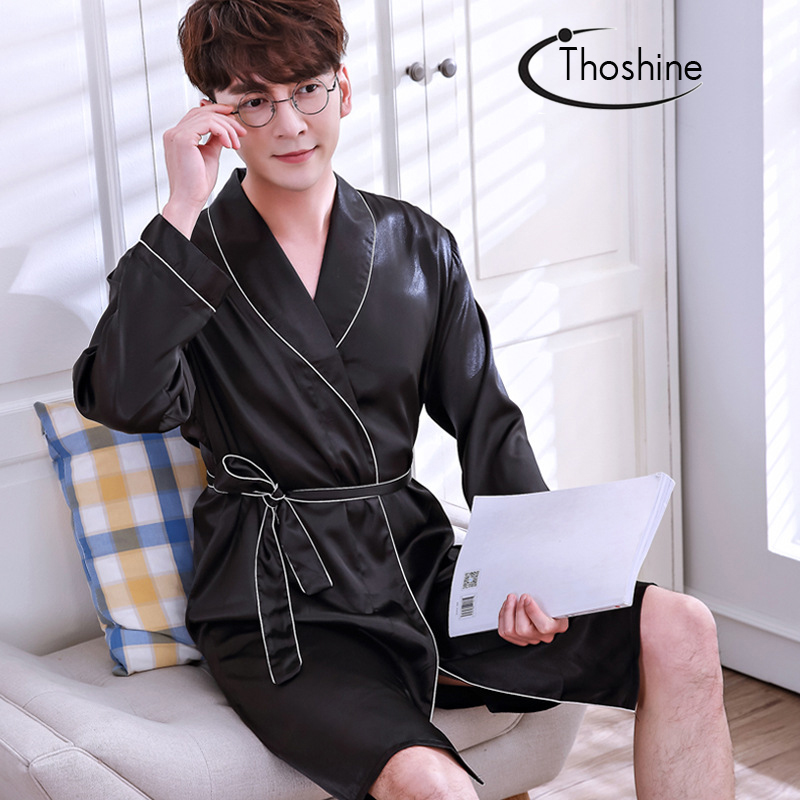 Thoshine Brand Spring Autumn Style Classical China Satin Silk Men Robes Turn Down Collar Nighties Male Bathrobe Pijama Sleepwear