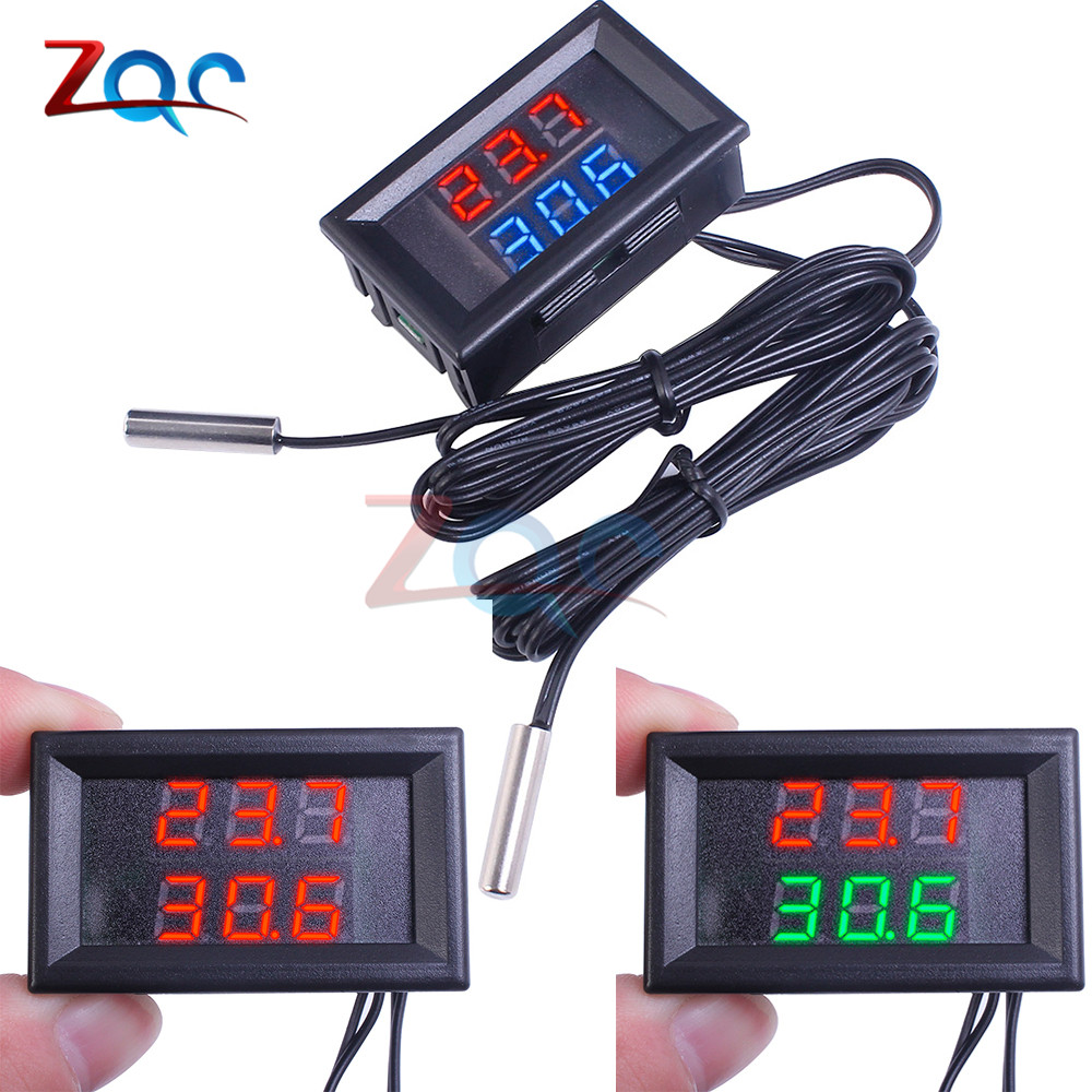 DC 4V-28V Mini Dual Display Digital Thermometer W/ Dual NTC Waterproof Metal Probe Temperature Sensor Tester For Car Room Indoor