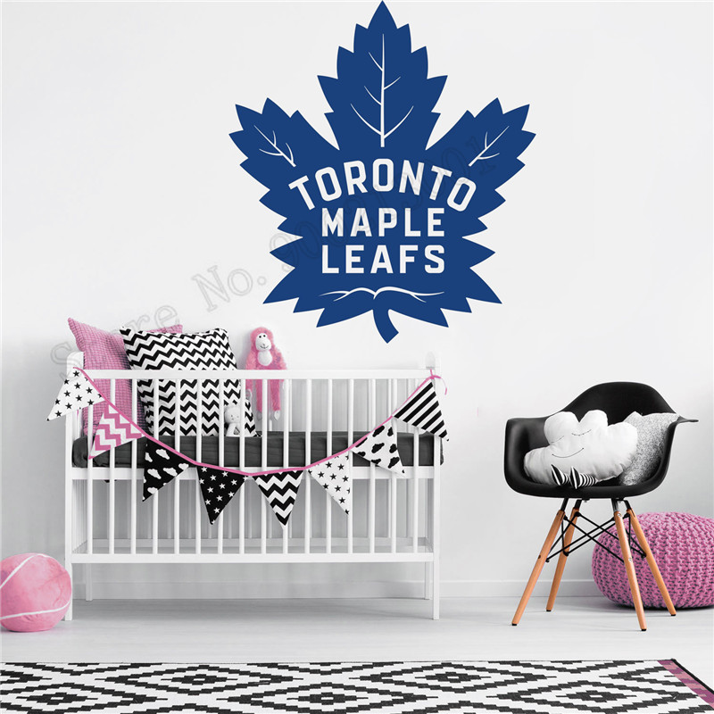 huge discount 0876e c6c91 US $7.33 26% OFF|Toronto Maple Leafs Wall Decoration Vinyl Art Removeable  Poster Beauty Bedroom Decor Modern Ornament LY982-in Wall Stickers from  Home ...