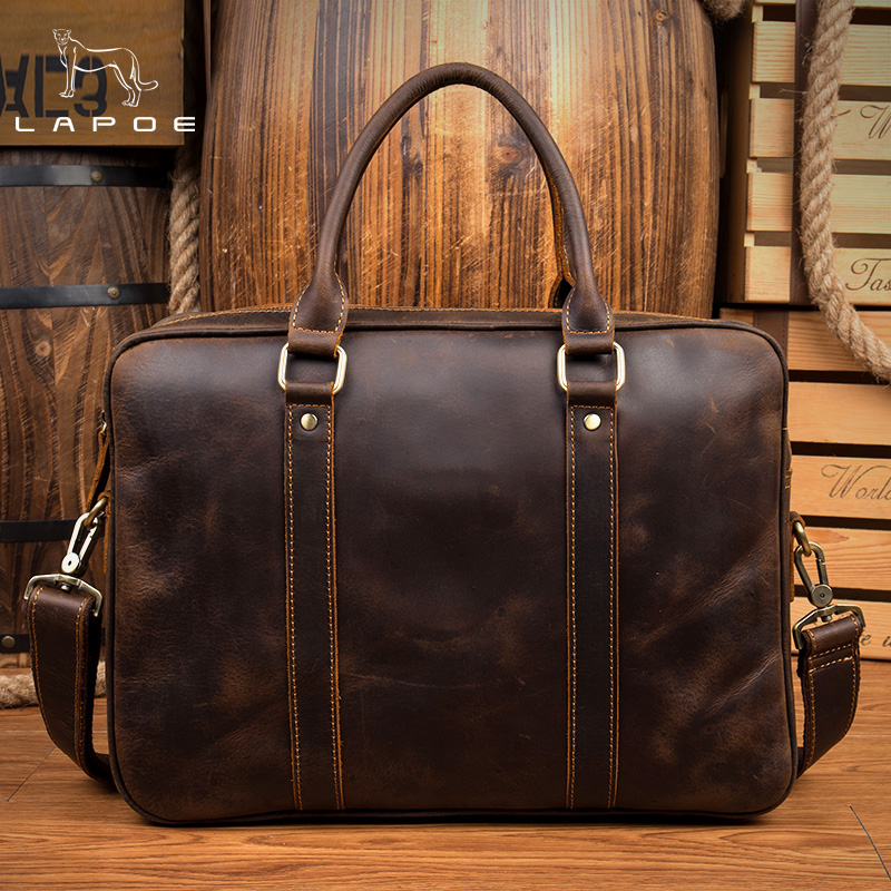 LAPOE Leather Laptop Bag Men Messenger Bags Genuine Leather Bag Men's Briefcases Handbag Totes Men Shoulder Crossbody Bags все цены