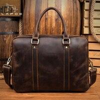 Lapoe кожаная сумка для ноутбука Для мужчин Курьерские Сумки из натуральной кожи сумка Для Мужчин's портфель сумки Для мужчин плеча Crossbody сумки