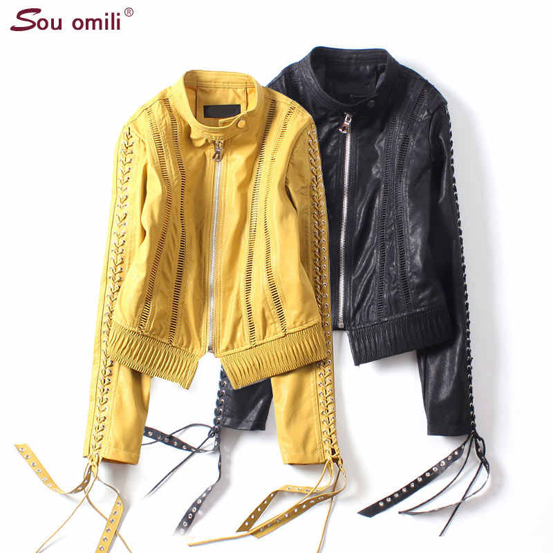 Yellow Eyelet plaite Sleeve Leather Jacket Women Punk Black Moto Hollow Out Coat Mesh chaqueta mujer Straps abrigos mujer Appare