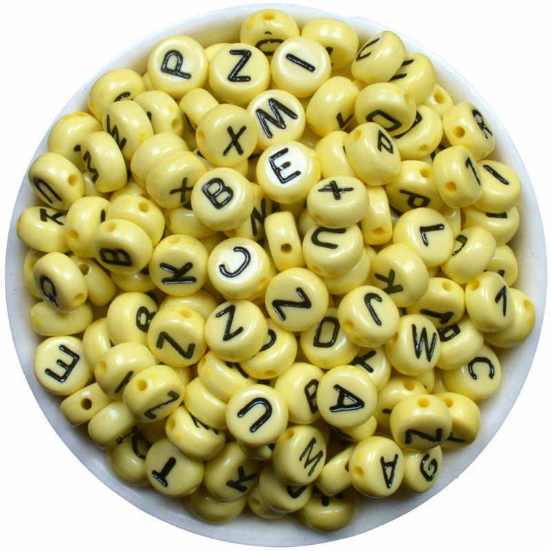 200 CÁI Hỗn Hợp Alphabet Letter Hạt Bạc Xám Acrylic Hạt Ví Trang Sức Làm 7 mét Spacer Hạt Cho Vá