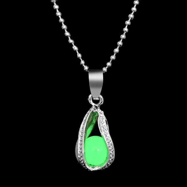 Модные спиральные капли воды светящийся камешек кулон ожерелье 3 цвета ожерелье-цепочка с подвеской светящаяся цепь ожерелье ювелирные изделия подарок