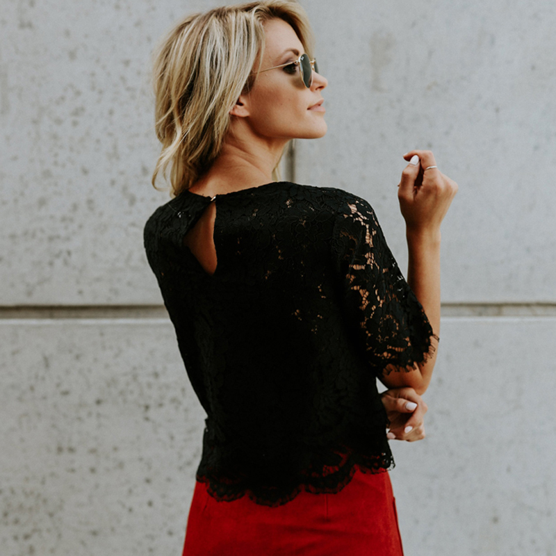2019 Red Loose Blouse Women Short Sleeve Tops Shirt Casual Lace Tops Shirt Fashion Women Ladies Clothing Tops 19