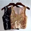 Женская верхняя одежда мода 2015 Блестками Bling Растениеводство Топ Танки, SB613