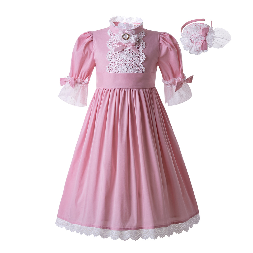 Pettigirl Lace Pink Solid Color Princess Wedding Party Standing Collar Long Flower Dress For GirlB479 Dress