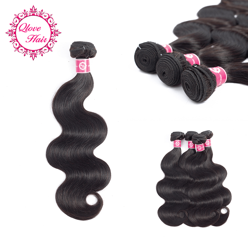 Qlove Hair Human Hair Bundles Brazilian Body Hair Weave Bundles Wavy Bundles In Extentio ...