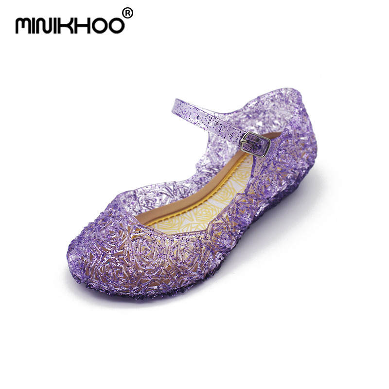 Mini Melissa Princess Jelly Sandals 2018 New Mini Melissa Jelly Sandals 15.5cm-20.5cm Melissa Baby Beach Sandals Crystal Shoes