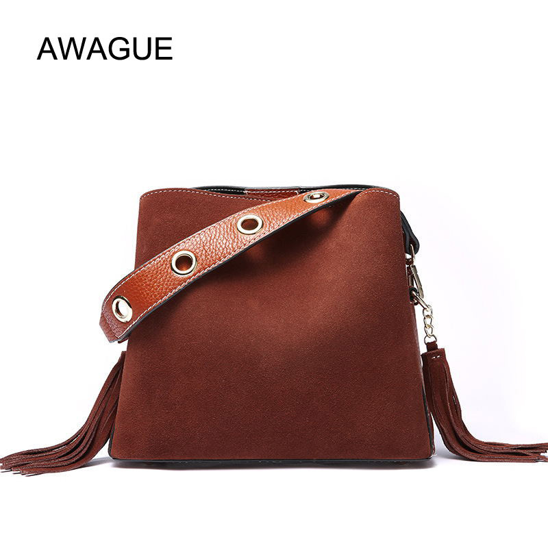 AWAGUE Fashion Genuine Leather Handbag Lady Tassel Messenger Bag Women Cow Leather Shoulder Bag Crossbody Bag threepeas patchwork shoulder bag cow leather handbag women genuine leather messenger bag crossbody