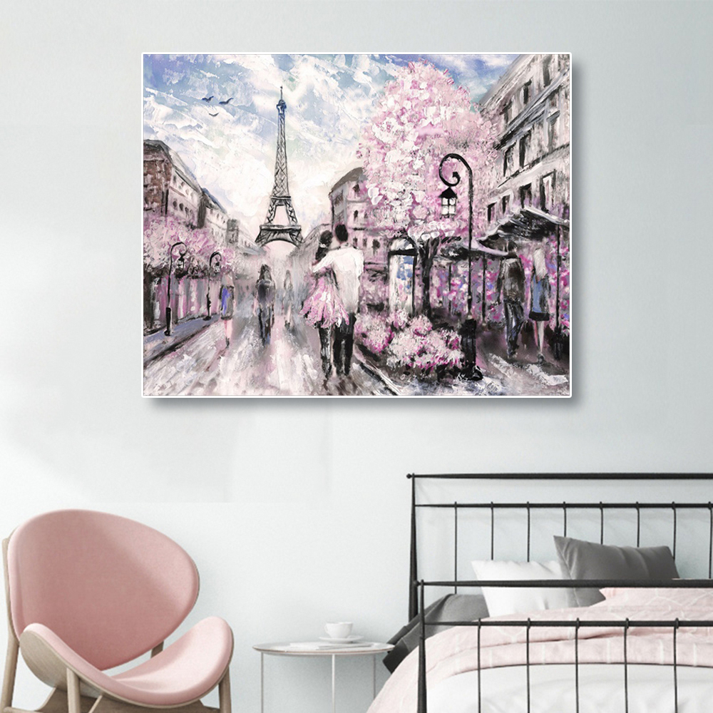 Laeacco Abstract Canvas Painting Calligraphy Nordic Paris Spring Street Posters Prints Wall Art Picture Living Room Home Decor