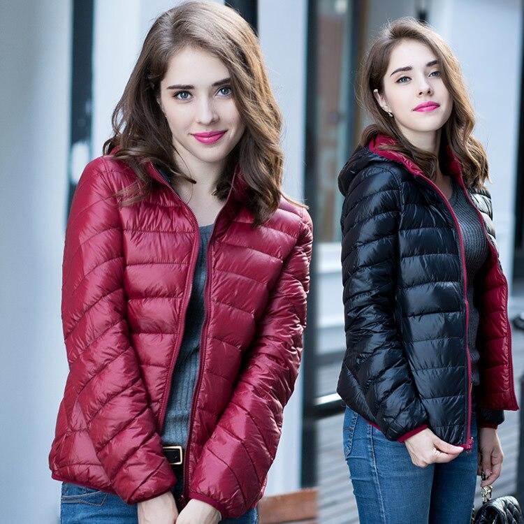 New 2019 Winter Two Side Women 90% White Duck Down Jacket Women s Hooded  Ultra Light Down Jackets Warm Winter Coat Parkas W00743-in Down Coats from  Women s ... 50f0f40f4