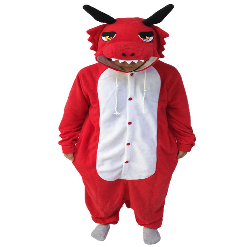 The New Red Dragon Onesie Leisure Fantasy Cartoon Apparel Winter Animal Pajamas Whole Hot Sales Girls Jumpsuit Pyjamas Size S-XL