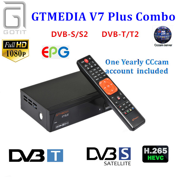 GT Media V7 Plus Combo Satellite Receiver DVB-S/S2 DVB-T/T2 Decoder TV Receptor Support H.265+1 Year Europe Spain Italy CCcam v8 golden dvb s2 dvb t2 dvb c cable combo iptv receptor satellite receiver decoder support ac3 auido iks cccam sat to ip tv box