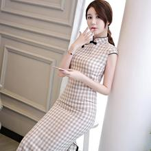 China Classic National Trend Chinese Old Shanghai Style Cotton Linen Women Cheongsam Vintage Plaid QiPao Sexy Party Day Dress
