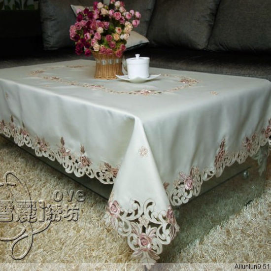 Rustic Cloth Embroidery Embroidered Dining Table Cloth Tablecloth Coffee  Table Cutout Cover Towel Rose(China