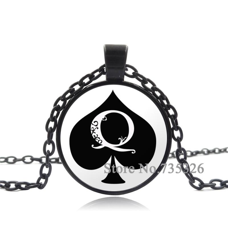 XUSHUI XJ Glass Cabochon Pendant Necklace Spades A Poker Art Picture Jewelry Black Chain Necklace Women men Personality gift