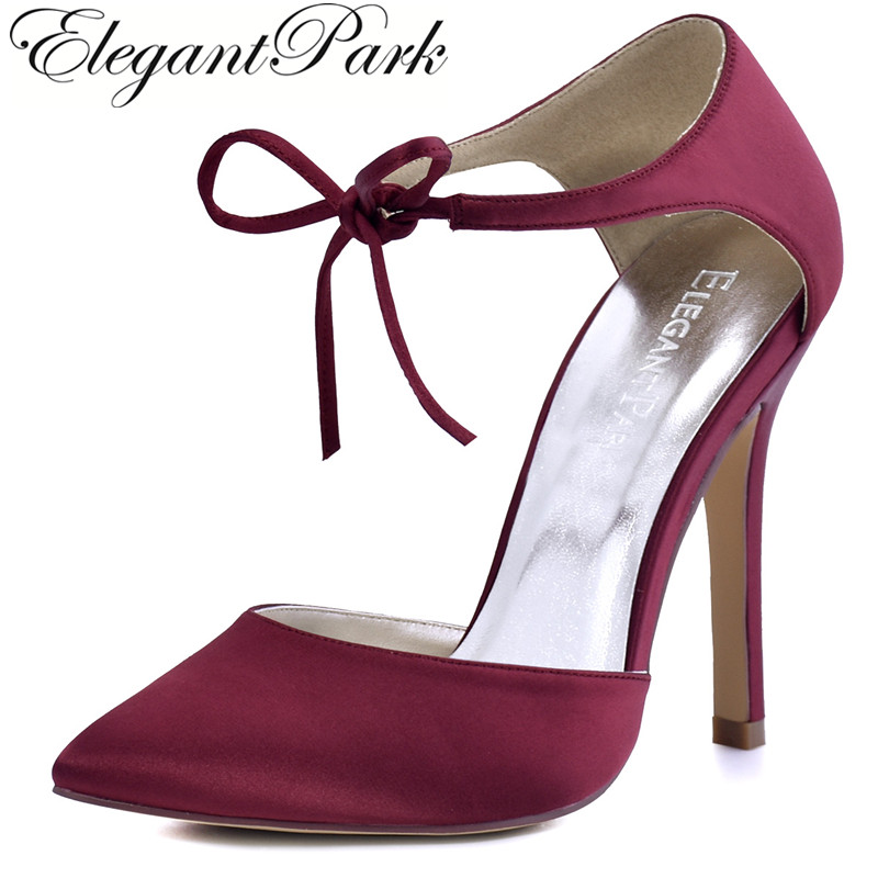 Woman Shoes Burgundy  High Heel Prom Pumps Ankle Strap Ribbon Tie Satin Bride Bridesmaids Wedding Bridal Evening Shoes HC1610 hp1544i white ivory peep toe women wedding pumps ankle strap crystal buckle bride bridesmaids high heel satin bridal prom shoes