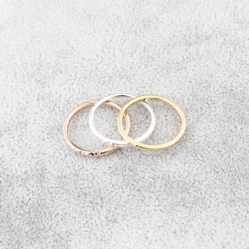 Wholesale 10pcs/lot Super Thin Circle Stacking Rings For Women Men Anillos Party Jewelry Rose Gold Minimalist Matte Round Rings